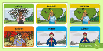 Seasons British Sign Language (BSL) Flashcards - spring, summer, autumn, winter, signing, signed