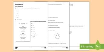 KS3 Substitution Activity Sheet - algebra, expressions, worksheet, number, operations,manipulate Using Applying, Reasoning, Problem So