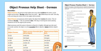 Direct Object Pronouns Activity Sheet German, worksheet