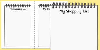 My Shopping List Writing Frames - my shopping list writing frames, my shopping list, shopping list, list, writing frames, writing template, writing frames, word cards, flashcards, template, shopping