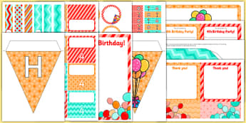 4th Birthday Party Pack - 4th birthday party, 4th birthday, birthday party, pack