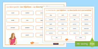 Adjectives For Physical Description And Personality Word Mat Spanish