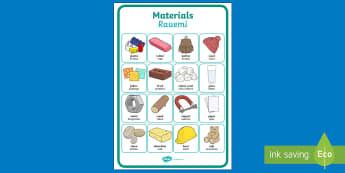 Materials Vocabulary Display Poster English/Te Reo Māori - Materials, Vocabulary, Display Poster, Science, Pūtaiao, Te Reo Māori