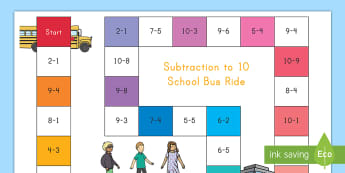 Subtraction Bus Board Game - board game, subtraction, math, number, problem-solving, puzzle, math station, sums,