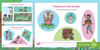 Treasures in the Garden Cutting Skills Activity Sheet - Twinkl Originals, Fiction, scissors, fine motor, skills, lost, found