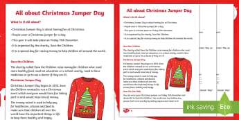 KS1 All about Christmas Jumper Day Differentiated Reading Comprehension - Christmas comprehension, save the Children, 15th december 2017, friday, y1 and y2