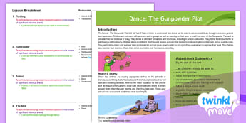 Twinkl Move - Year 2 Dance: The Gunpowder Plot Unit Overview - PE, Physical Education, Key Stage 1, KS1, Year 1, Y1, Year 2, Y2, Warm-Up, Sport, Exercise, Dance, T