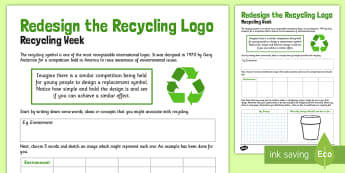 Redesign the Recycle Logo Worksheet / Activity Sheet - recycle, logo, activity, worksheet