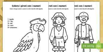 Colora i Pirati con i Numeri - pirati, colora, con, i numeri, fogli, da colorare, colori