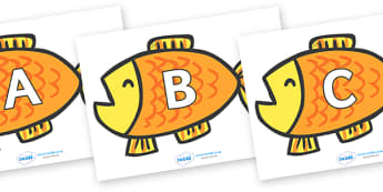 A-Z Alphabet on Goldfish to Support Teaching on Brown Bear, Brown Bear - A-Z, A4, display, Alphabet frieze, Display letters, Letter posters, A-Z letters, Alphabet flashcards