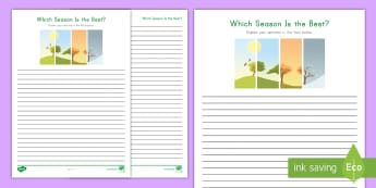 Which Season Is Best? Opinion Writing Activity Sheet - w3.1, Final Draft, work on writing, informational text, argument, persuade