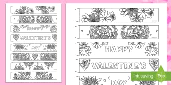 Valentine's Day Mindfulness Flowers Paper Chain Activity - Valentine's Day,  Feb 14th, love, cupid, hearts, valentine, flower, flowers