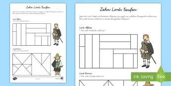 Zehn Lords laufen Arbeitsblatt - Formen, Rechnen, Zählen, Dreiecke, Rechtecke, Vierecke, ,German