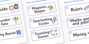 Lilac Themed Editable Maths Area Resource Labels - Themed maths resource labels, maths area resources, Label template, Resource Label, Name Labels, Editable Labels, Drawer Labels, KS1 Labels, Foundation Labels, Foundation Stage Labels, Teaching Label