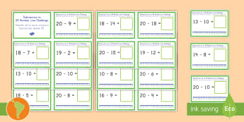 Subtraction Up to 20 with a Number Line Challenge Cards US English/Spanish (Latin) - Subtraction Up to 20 with a Number Line Challenge Cards - subtraction, up to 20, number line, challe