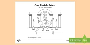 Our Parish Priest Colouring Page - priest, parish, church, mass, catholic,