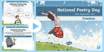 National Poetry Day LKS2 Assembly PowerPoint - performance poetry, reading aloud, word play, language, words creating images, poetry writing techni