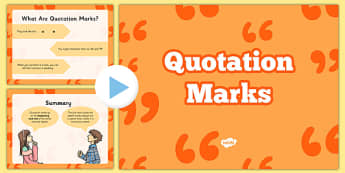 Quotation Marks PowerPoint - Quotation marks, US Resources, 3rd, 4th, 5th,
