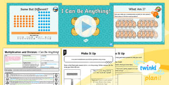 PlanIt Maths Y2 Multiplication and Division Lesson Pack Arrays - Multiplication and Division, arrays, repeated addition, multiply, divide, context, inverses, Solve p