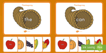 Thanksgiving-Themed Sight Words Matching Activity - thanksgiving, thanksgiving day, thanksgiving literacy activity, literacy activity, sight words, sigh