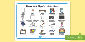 Classroom Objects Word Mat English/Spanish - classroom objects, classroom, objects, word mat, word, mat, wordmat, ojects, EAL
