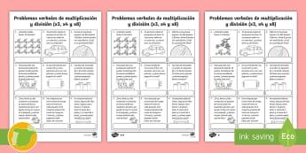 Fichas de actividad: Problemas verbales de multiplicación y división - matematica, matemática, matematica, matemáticas, división, dividir, dividiendo, multiplicar, mult