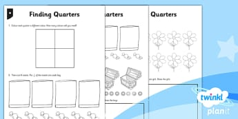 PlanIt Maths Y1 Fractions Finding Quarters Differentiated Home Learning