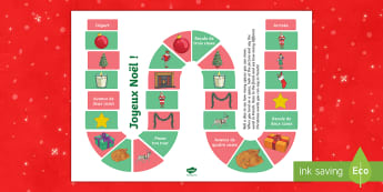 Christmas Themed Vocabulary Board Game French  - French, Festivals, Christmas, Celebrations, Noël, France, Key Stage 2, traditions,French