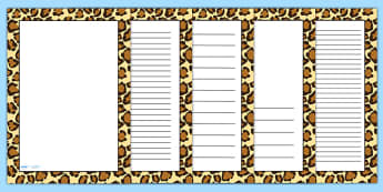 Leopard Pattern Portrait Page Border - safari, safari page borders, leopard page borders, leopard pattern page borders, safari animal pattern page borders