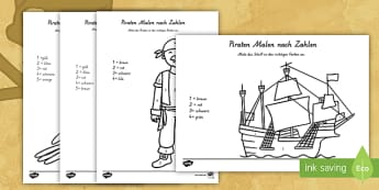 Piraten Malen nach Zahlen - Pirates Colour by Number - pirates, colour, number, activity, coloyur by number, pirtaes, prirate, P