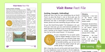 Visit Rome Fact File - Ancient Rome, Romans, Colosseum, public baths, Trajan market, persuasion