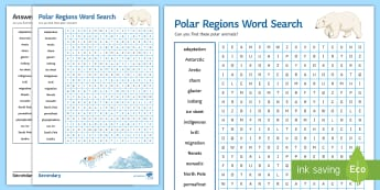Polar Regions Word Search Activity Sheet - Polar, Word search, Arctic, Antarctic, Antarctica