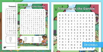 Treasures in the Garden Word Search - word search, find, clue, line, solve, fairy, queen, story, fiction, spelling, ks1