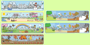 Die vier Jahreszeiten Banner für die Klassenraumgestaltung - seasons, spring, summer, autumn, winter, Jahreszeiten, Frühling, Sommer, Herbst, Winter,German