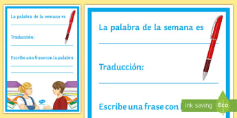 Word of the Week Display Poster Spanish - classroom, organisation, vocabulary, teacher, tools, visual, aid