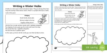 KS1 Writing Your Own Winter Haiku Activity Sheet - understanding haikus, writing a haiku, how to write a haiku in KS1, write your own poem, worksheet