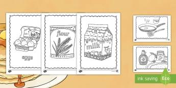 Pancake Themed Coloring Worksheet / Activity Sheets - pancakes, food, eating, syrup, color, coloring, art, worksheets