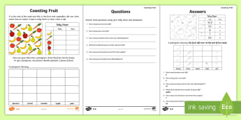 Year 2 Maths Statistics  Worksheet / Activity Sheet - year 2, maths, homework, statistics, tally charts, pictograms, data, analysis, interpreting data