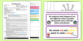 EYFS Colour Mixing Aliens Adult Input Plan and Resource Pack