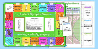 Ancient Olympics Boardgame - olympics, ancient olympics, ancient greece, greeks, olympics board game, history board game, olympics game, ks2 history game