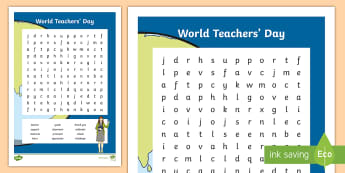 World Teachers' Day Word Search - activities, vocabulary, celebration, teacher, appreciation