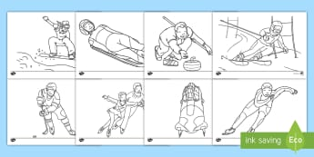 Winter Olympics Colouring Pages - 冬奥会,奥运会,涂色练习,滑雪,滑冰,冰车,速滑