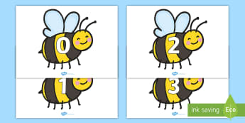 Numbers 0-20 on Bees - Foundation Numeracy, Number recognition, Number flashcards, Bee, Minibeast resource