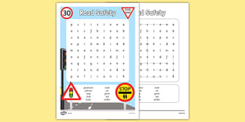 Road Safety Differentiated Word Search - road safety, word search, wordsearch, road, safety
