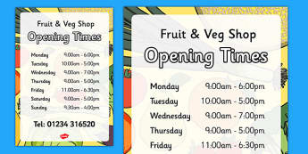 Fruit and Vegetable Shop Opening Times - fruit and vegetable shop, fruit, vegetable, shop, role-play, opening times, opening, times