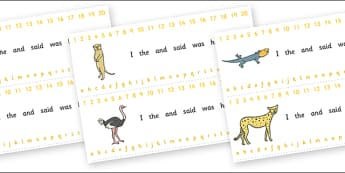 Combined Alphabet and Number Strips (Safari) - Safari, Alphabet, Numbers, Writing aid, lion, cheetah, puma, jaguar, rhino, hippo, elephant, giraffe, antelope