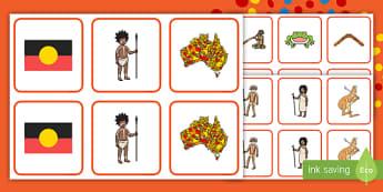 NAIDOC Week Memory Match Game - EYLF, Australia, Aboriginal, Indigenous, matching, card game, early years, Kindergarten, Kinder, Pre