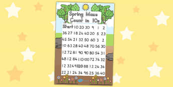 Spring Counting in 10s Maze Worksheet - count, puzzle, games