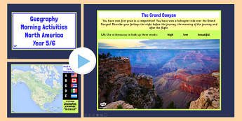 Year 5 6 North America Geography Morning Activities PowerPoint