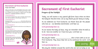 Sacrament of First Eucharist Prayers of the Faithful Print-Out-Irish - Prayers of the Faithful, ROI, Ireland, sacrament, First Eucharist, Roman Catholic, prayer service, a